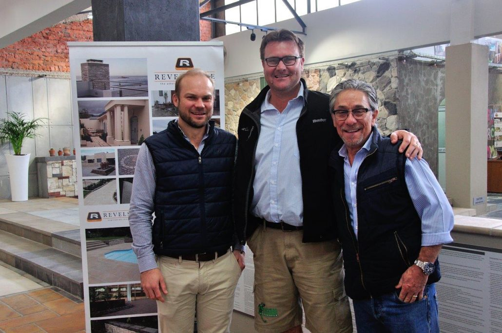 Revelstone chairman, Andrew Cyprianos (right), seen here with business consultant, Chris Rookledge (left), and Clayton Laue of Paarman Landscapes during the launch of the company's new product range in August.