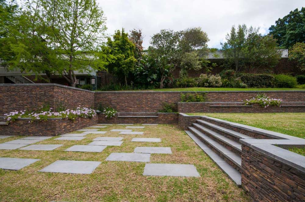 The revamped Baxter Theatre gardens showing the terraces, stairs and the retaining wall which were dressed with various cast-stone precast concrete products manufactured by Revelstone.